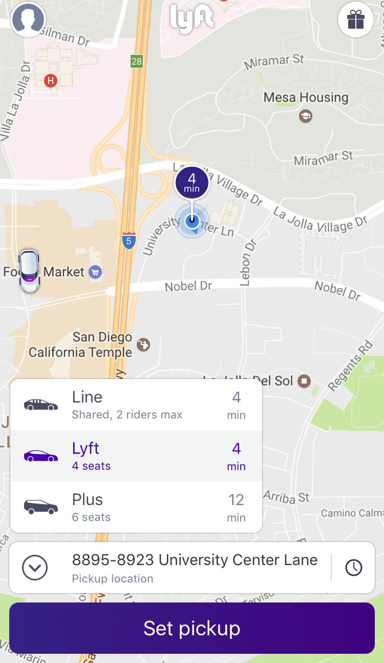 order a lyft - pick car size