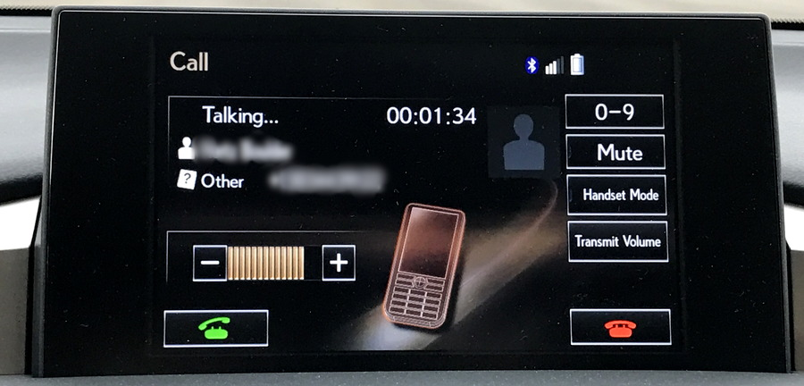lexus nav system phone call in progress