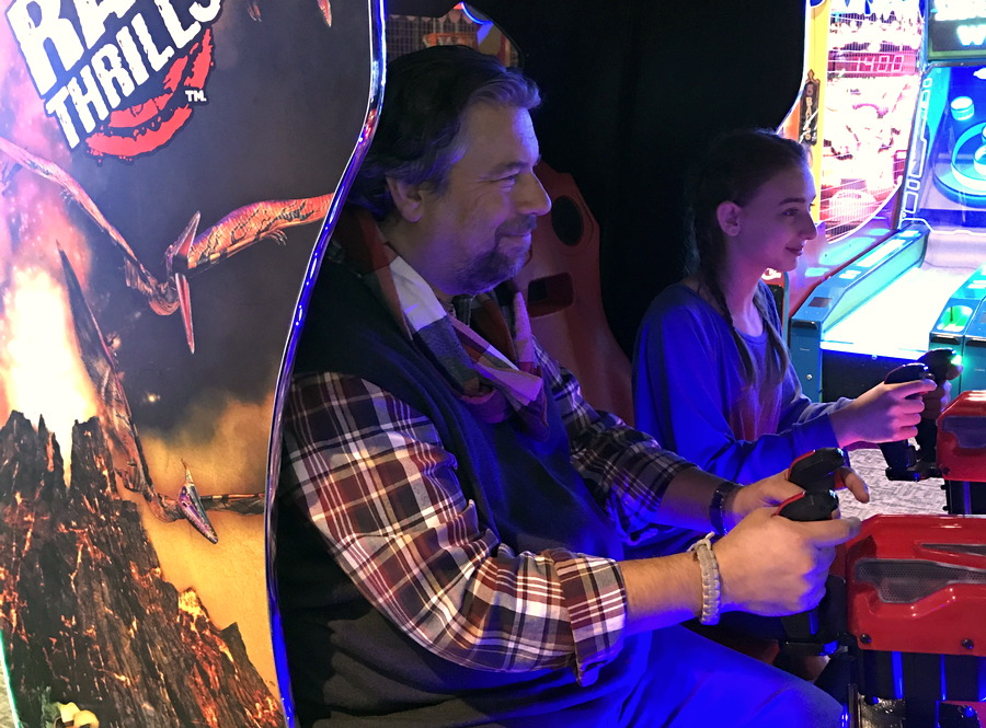 dave taylor author and daughter playing jurassic park video game