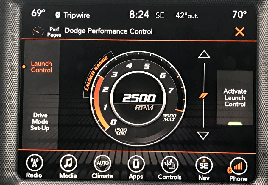 2017 dodge challenger launch control