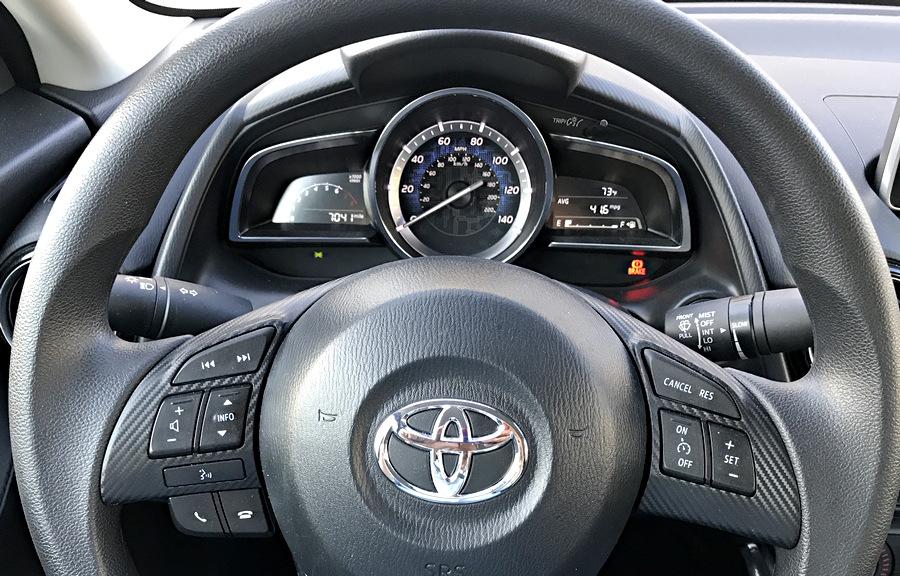 2017 toyota yaris ia - steering wheel gauges