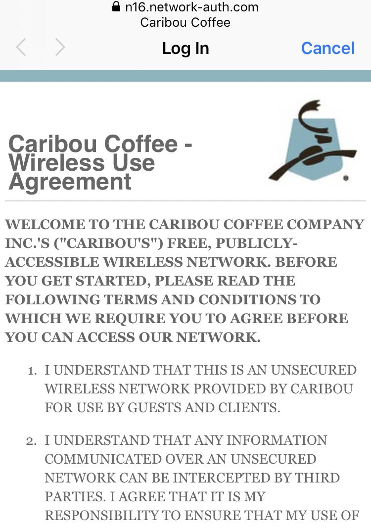 caribou coffee wireless use agreement #1
