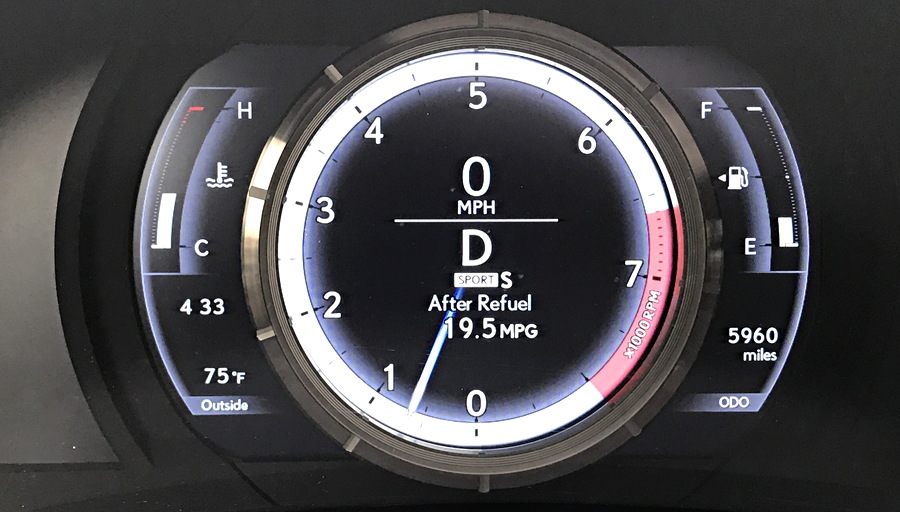 dash gauge closeup, 2017 lexus is350