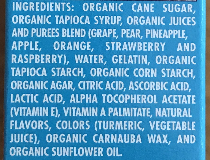 go organically fruit snack ingredients list