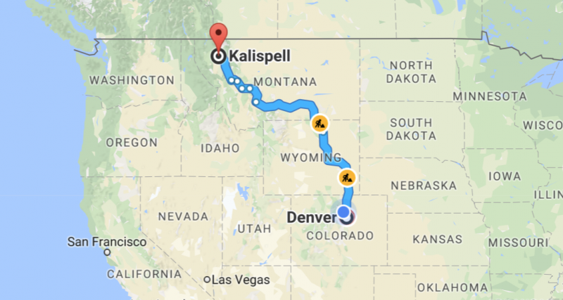 denver co kalispell mt driving route map