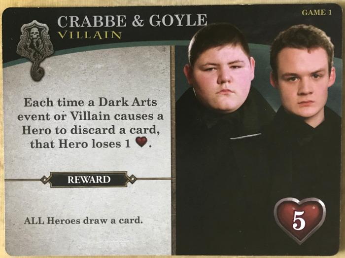 harry potter hogwarts battle - villain cards - crabbe goyle