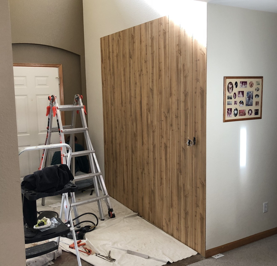 wood panelling installed