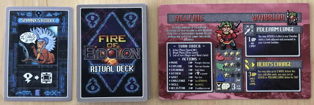 fire of eidolon game - artifact cards and hero card