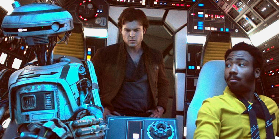 """L3-37 (Phoebe Waller-Bridge), Han Solo (Ehrenreich) and Calrissian (Donald Glover) from """"Solo: A Star Wars Story"""""""
