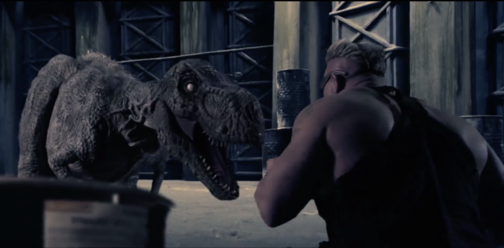 "Duque (Andy Haman) goes mano-a-claw with Z-Rex, from ""The Jurassic Dead"""