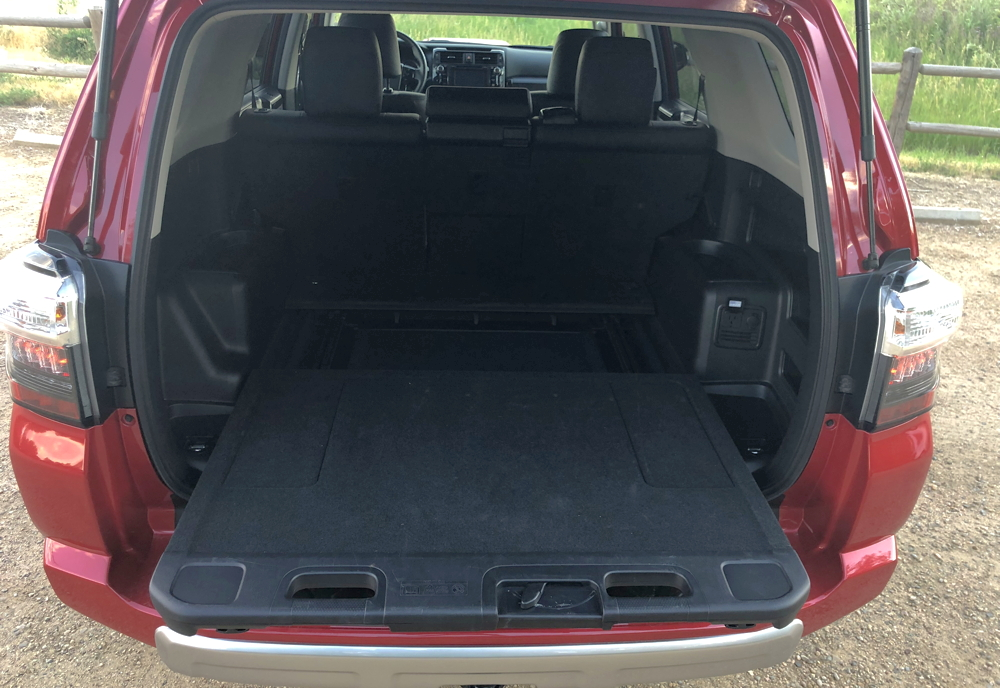 2018 toyota 4runner rear with pull-out seating shelf