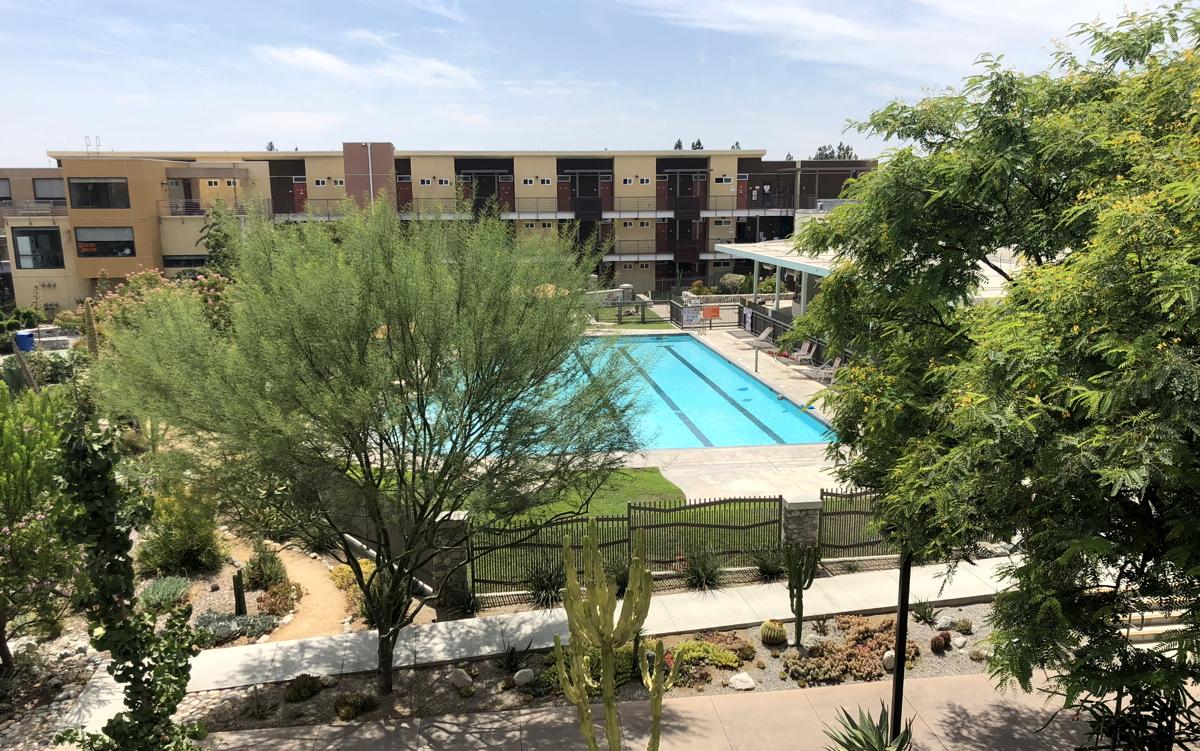 pitzer main pool, dorm complex, claremont ca