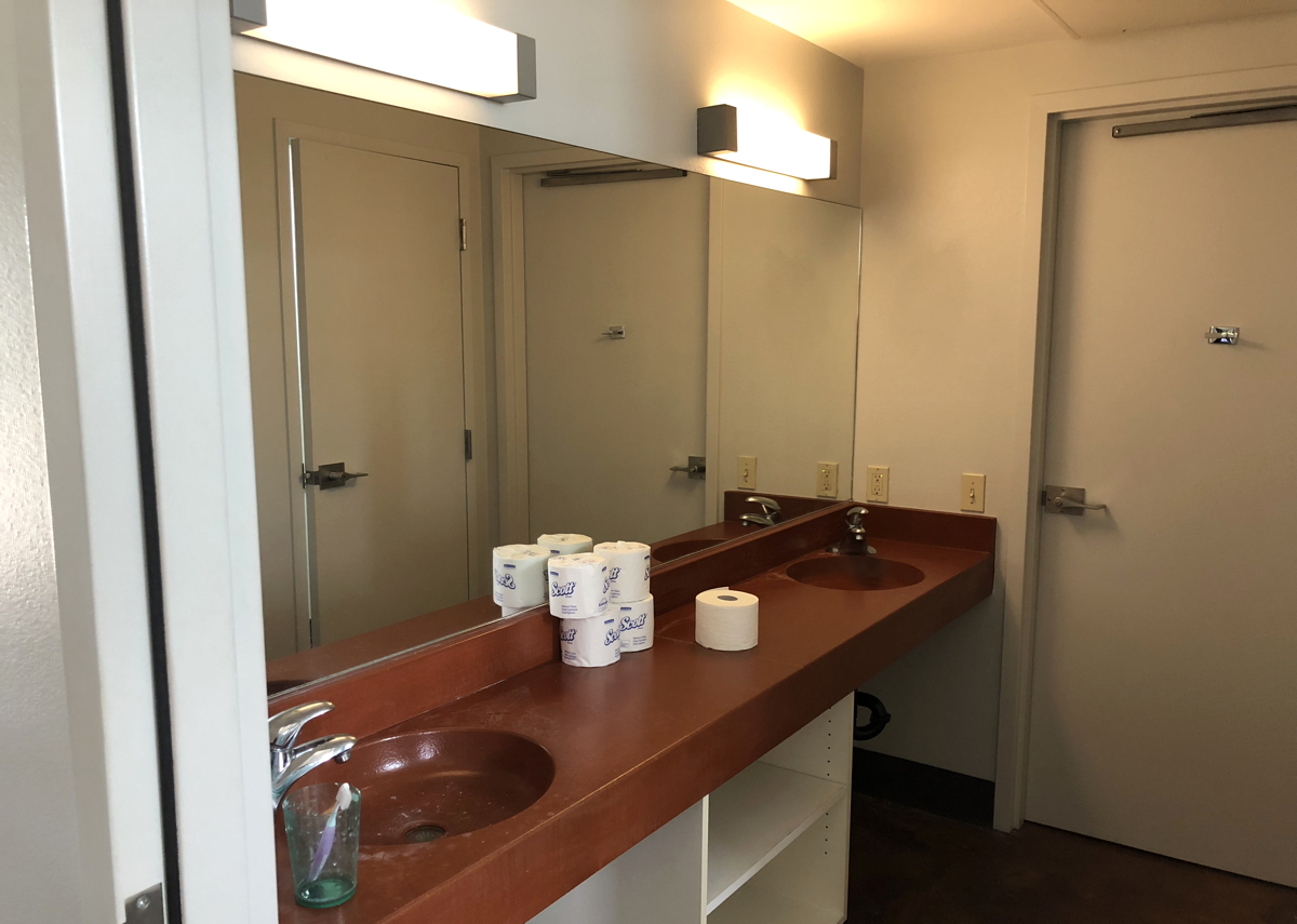 shared bathroom, pitzer college dorms suite