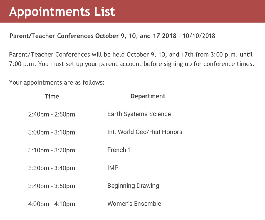 high school parent teacher conference appointments list