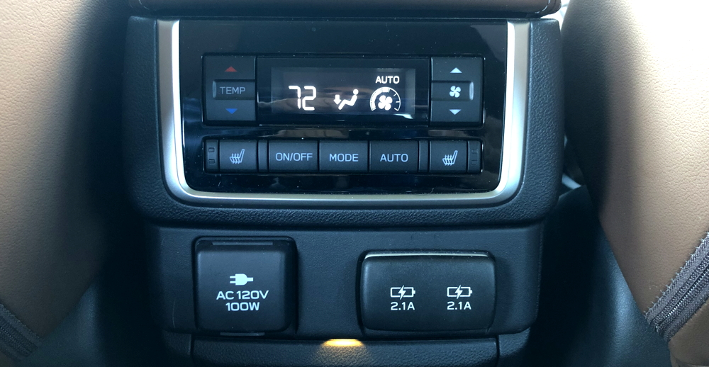 2019 subaru ascent - rear passenger control console