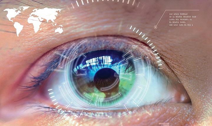 close up woman's eye