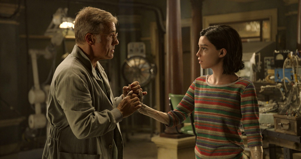 alita battle angel - publicity still photo - christoph waltz, rosa salazar