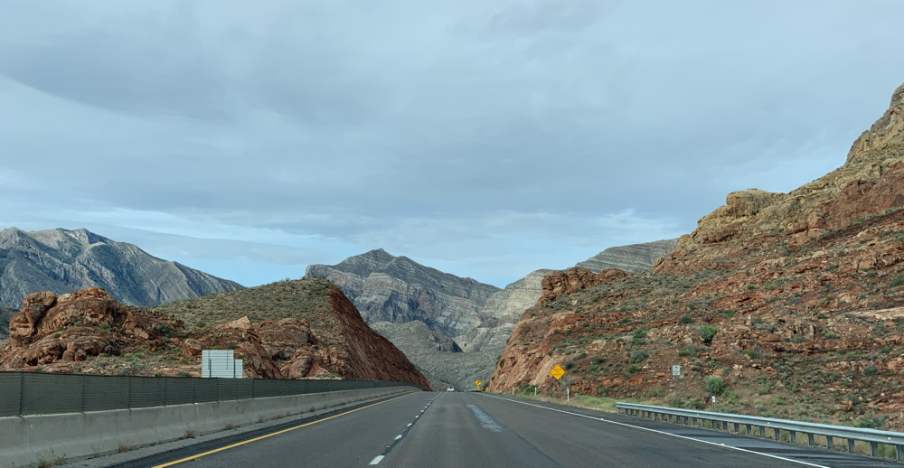 rocky route highway driving mountains