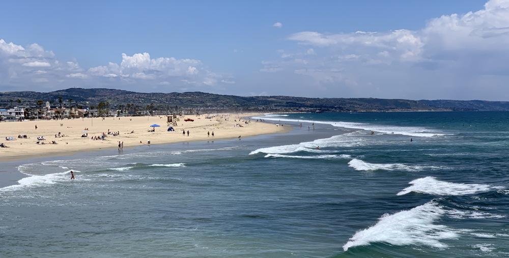 newport beach, california beach surf line