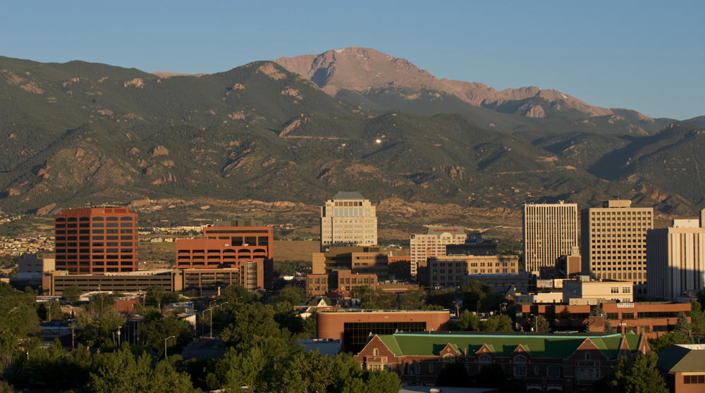 Colorado Springs, Colorado downtown with mountains