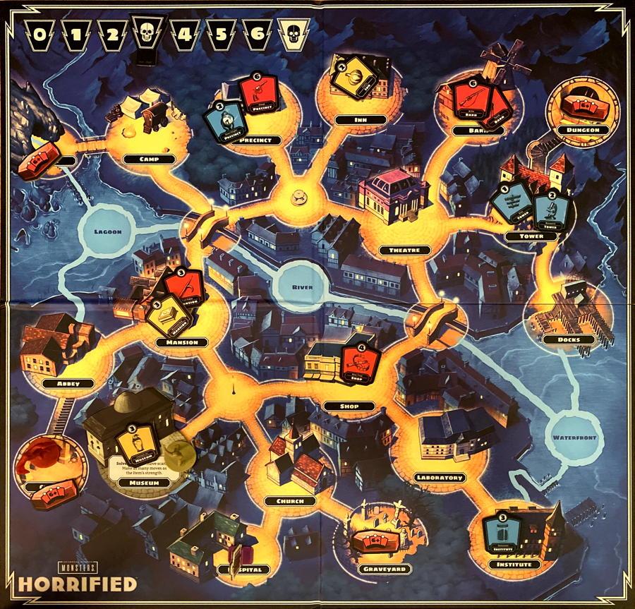 horrified board game - ravensburger - game board