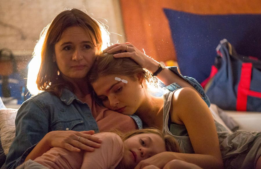 "Emily Mortimer as Sarah, Stefanie Scott as Lindsey and Chl oe Perrin as Mary in the horror, thriller, "" MARY ,"""