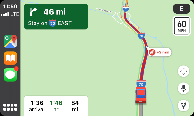 heavy traffic, breckenridge to denver, google maps carplay gps map