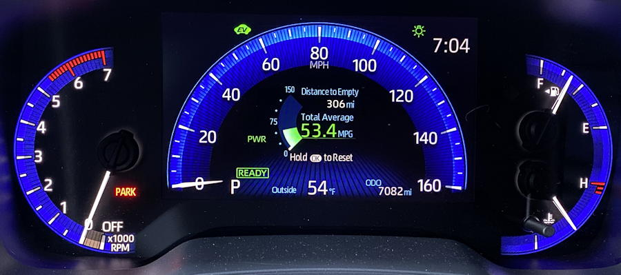 2020 toyota corolla hybrid le - main gauge display