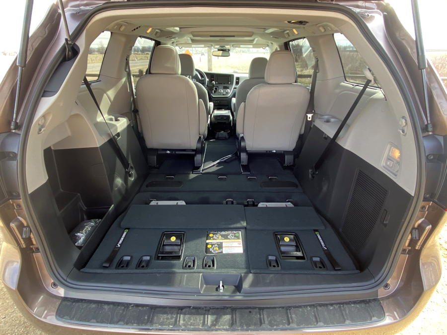 2020 toyota sienna ltd awd - interior from rear, seats folded down