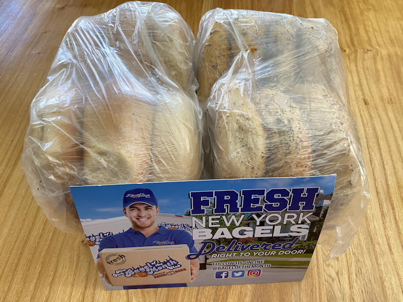 new york bagel of the month club - wrapped bagels via fedex