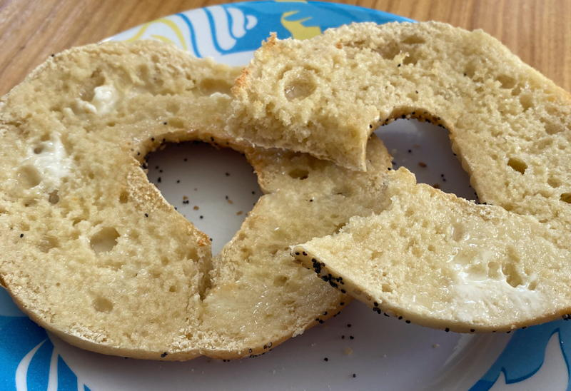 new york bagel of the month club - everything bagel toasted with butter
