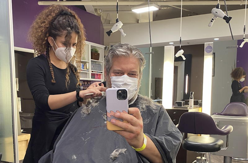 haircut proceeds, zinke studio boulder, quarantine mask