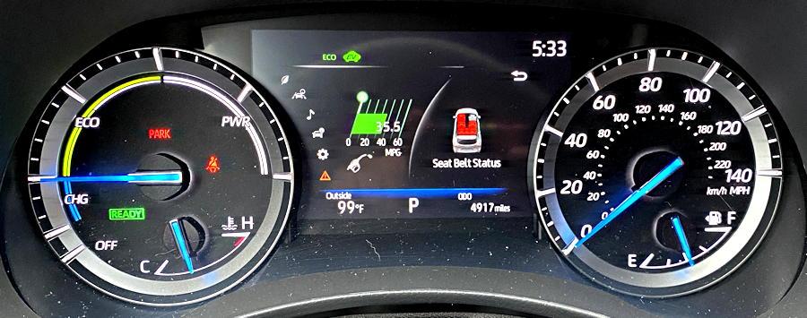 2020 toyota highlander hybrid ltd - main gauge layout