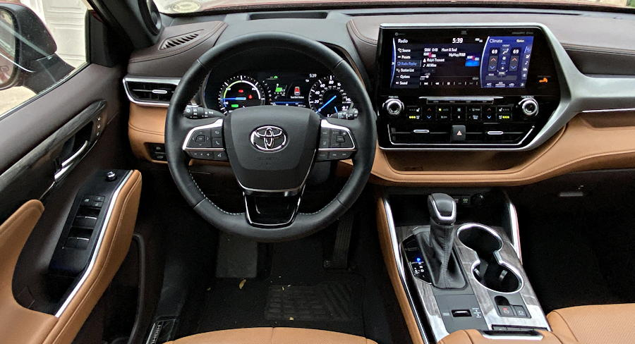 2020 toyota highlander hybrid ltd - dash layout interior