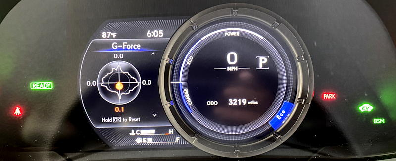 2020 lexus ux 250h f sport - g force display
