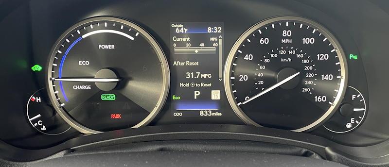 2021 lexus nx 300h luxury - main gauge display