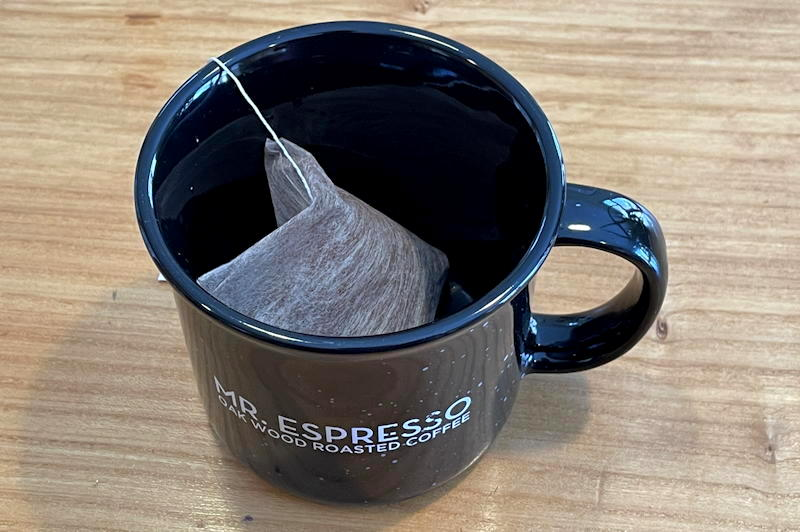 mr espresso steeped coffee bag - in mug