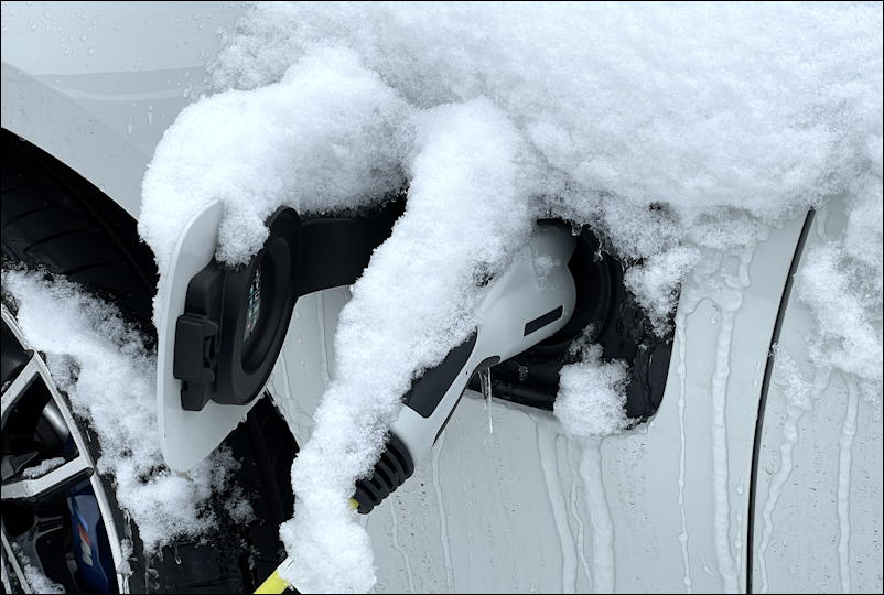 bmw ev charger covered snow ice