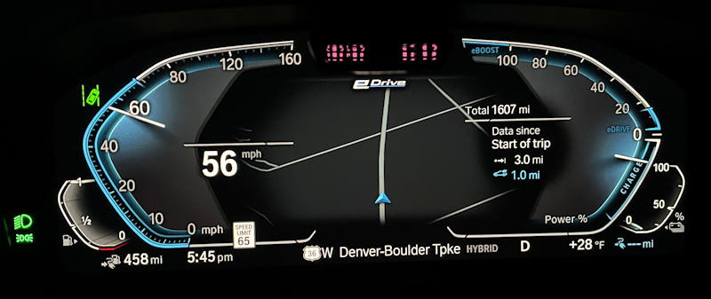 2021 bmw 330e sedan - front dash main gauges