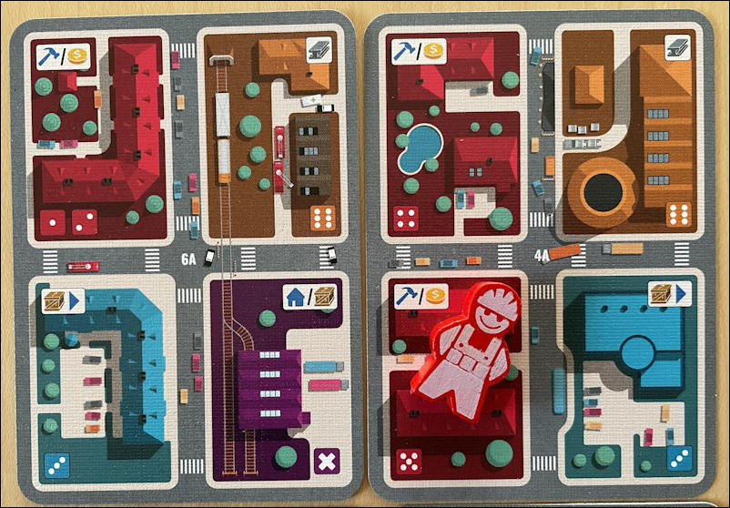 micro city by thistroy games - district cards closeup