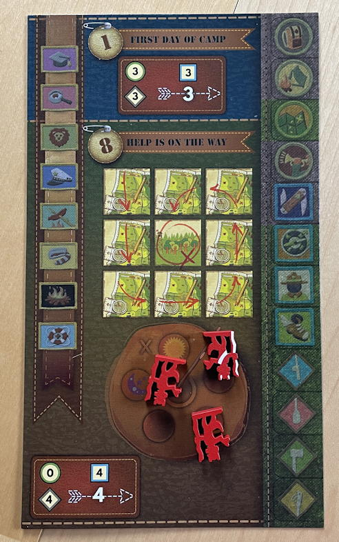 camp pinetop solo play game review - player board solo side