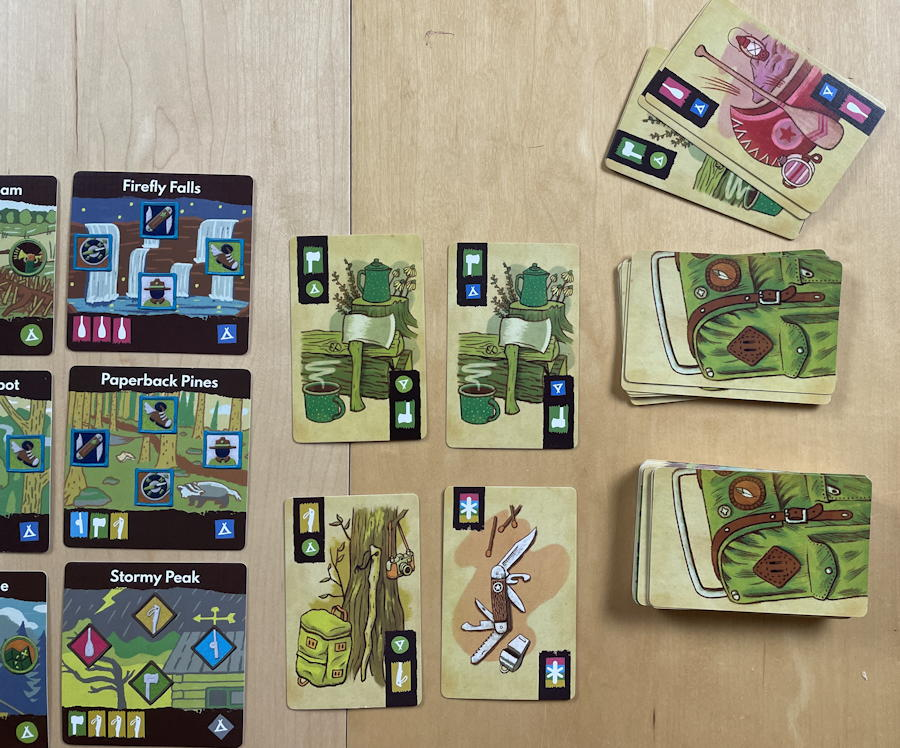 camp pinetop solo play game review - game draw pile