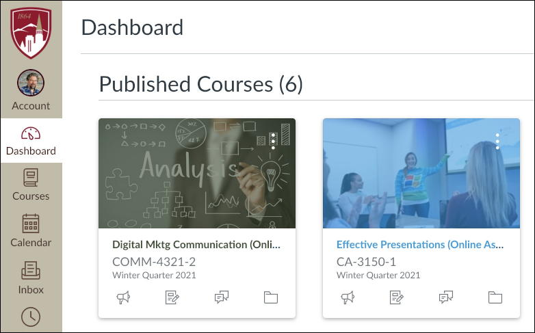 my classes in canvas - du