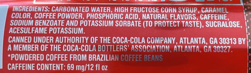 coca cola with coffee vanilla label ingredients