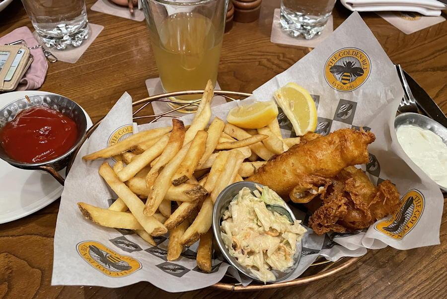fish & chips shandy - the golden bee - broadmoor