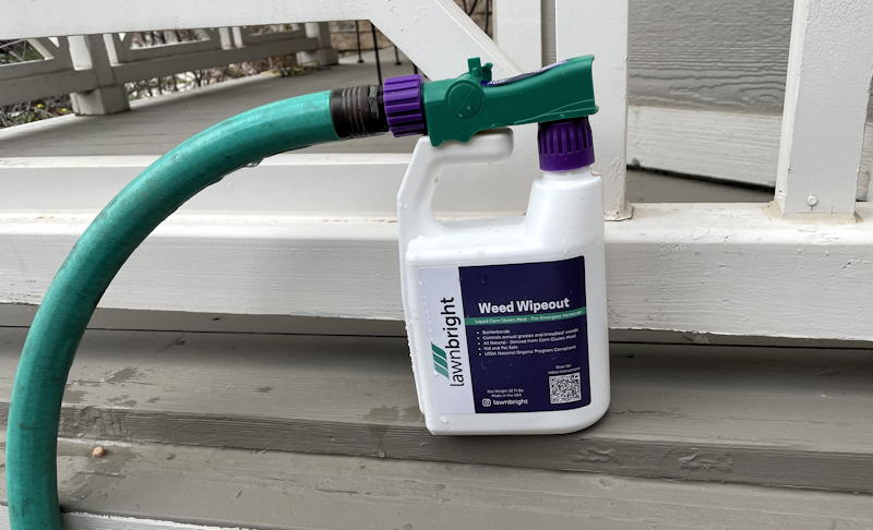lawnbright weed wipeout attached to hose ready to spray