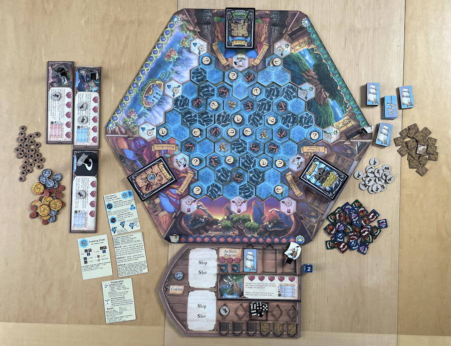 quests & cannons board game review - starting setup