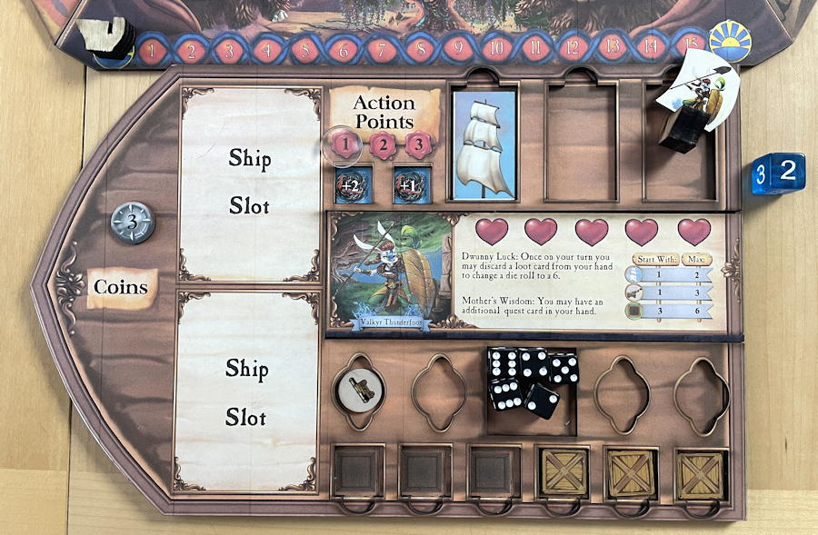 quests & cannons board game review - player board