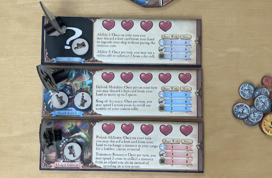 quests & cannons board game review - enemy ships