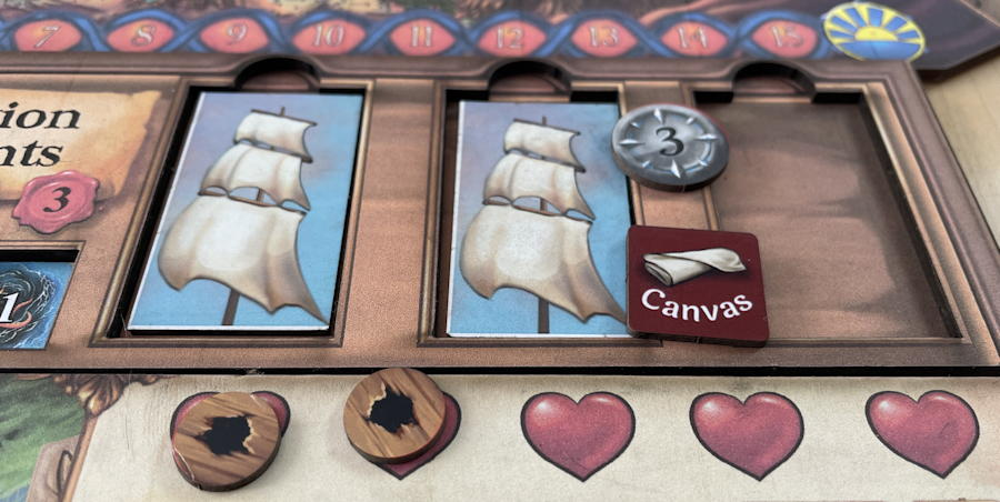 quests & cannons board game review - buying a sail